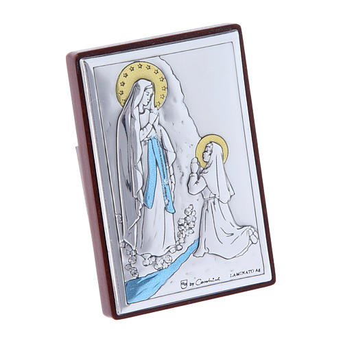 Our Lady of Lourdes painting in laminboard with refined wooden back 6X4 cm 2