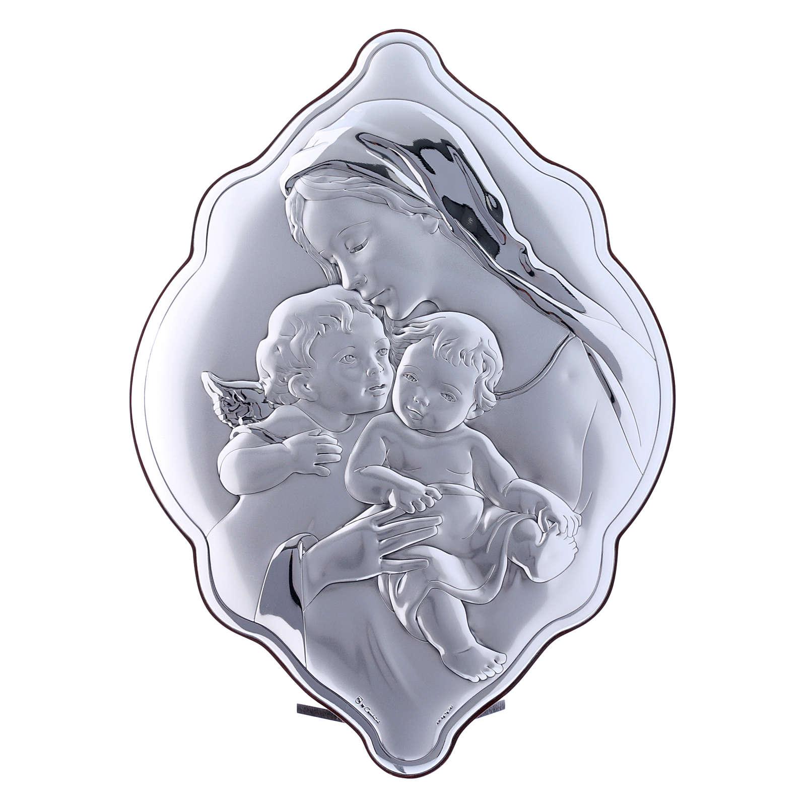 Cuadro de bilaminado con parte posterior de madera preciosa María Niño Jesús y Ángel 31x21 cm 4