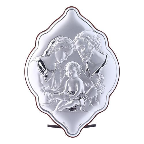Quadro Sacra Famiglia in bilaminato con retro in legno pregiato 21X14 cm 1