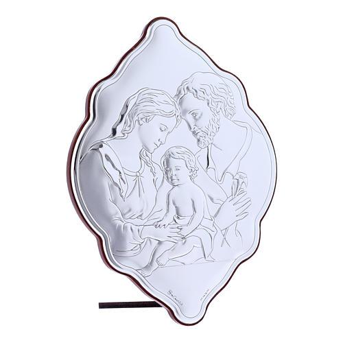Quadro Sacra Famiglia in bilaminato con retro in legno pregiato 21X14 cm 2