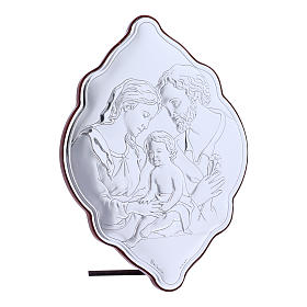 Holy Family painting in laminboard with refined wooden back 21X14 cm s2