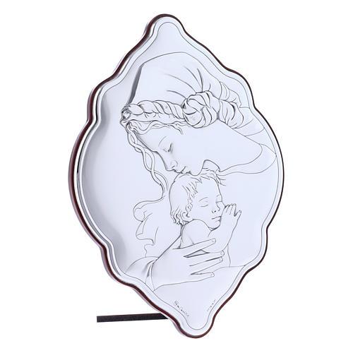 Quadro Madonna e Bambino in bilaminato con retro in legno pregiato 21X14 cm 2