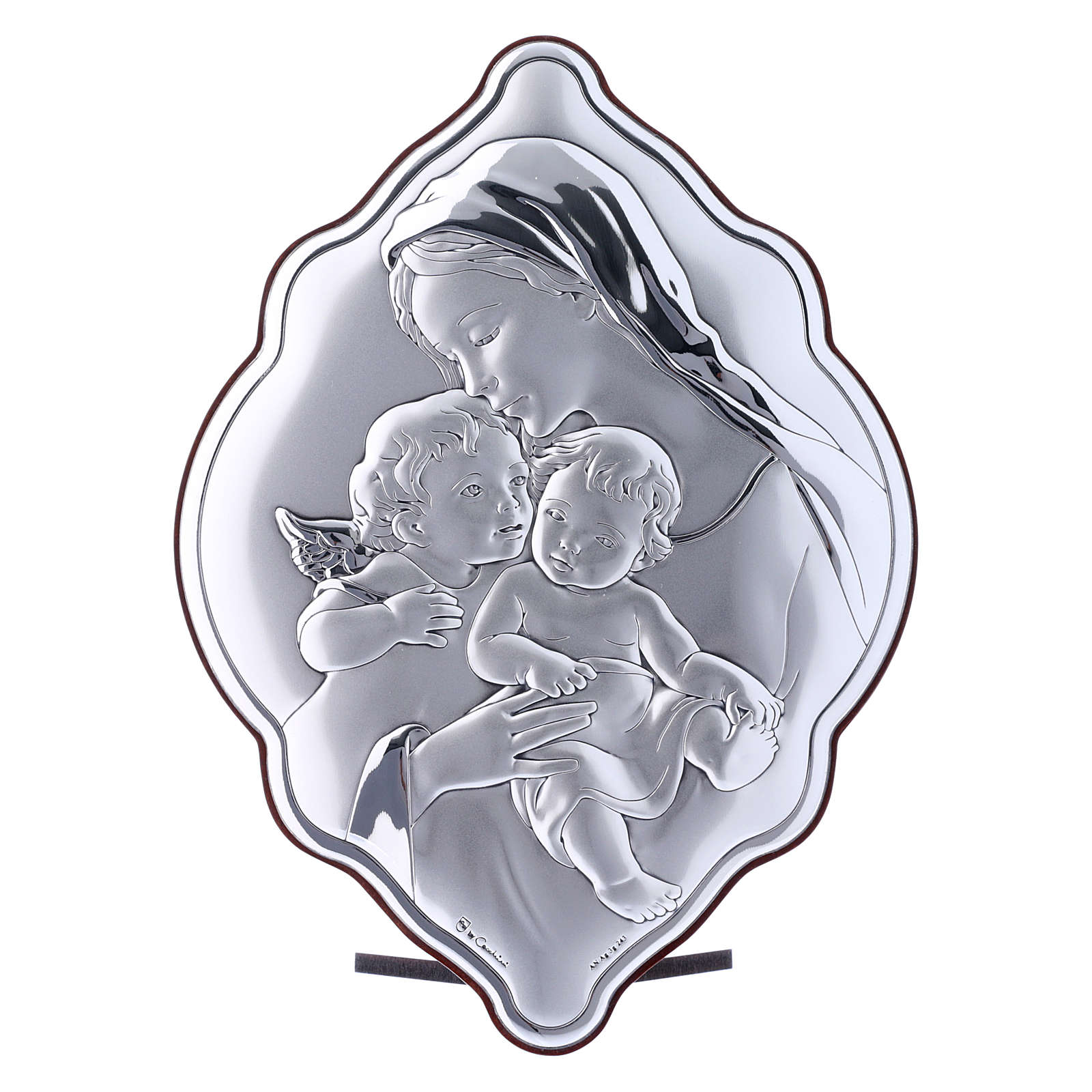 Quadro 21X14 cm Maria con Gesù e Angelo in bilaminato con retro in legno pregiato 4