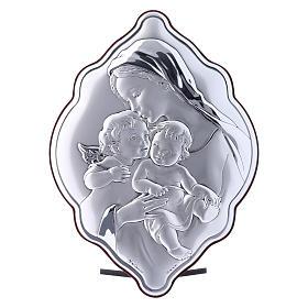 Quadro 21X14 cm Maria con Gesù e Angelo in bilaminato con retro in legno pregiato s1