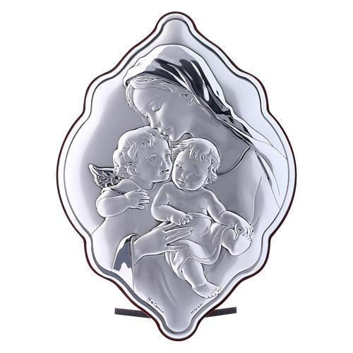Quadro 21X14 cm Maria con Gesù e Angelo in bilaminato con retro in legno pregiato 1