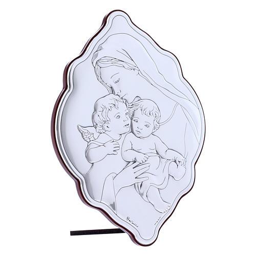 Quadro 21X14 cm Maria con Gesù e Angelo in bilaminato con retro in legno pregiato 2
