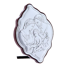 Holy Family painting in laminboard with refined wooden back 10X7 cm s2