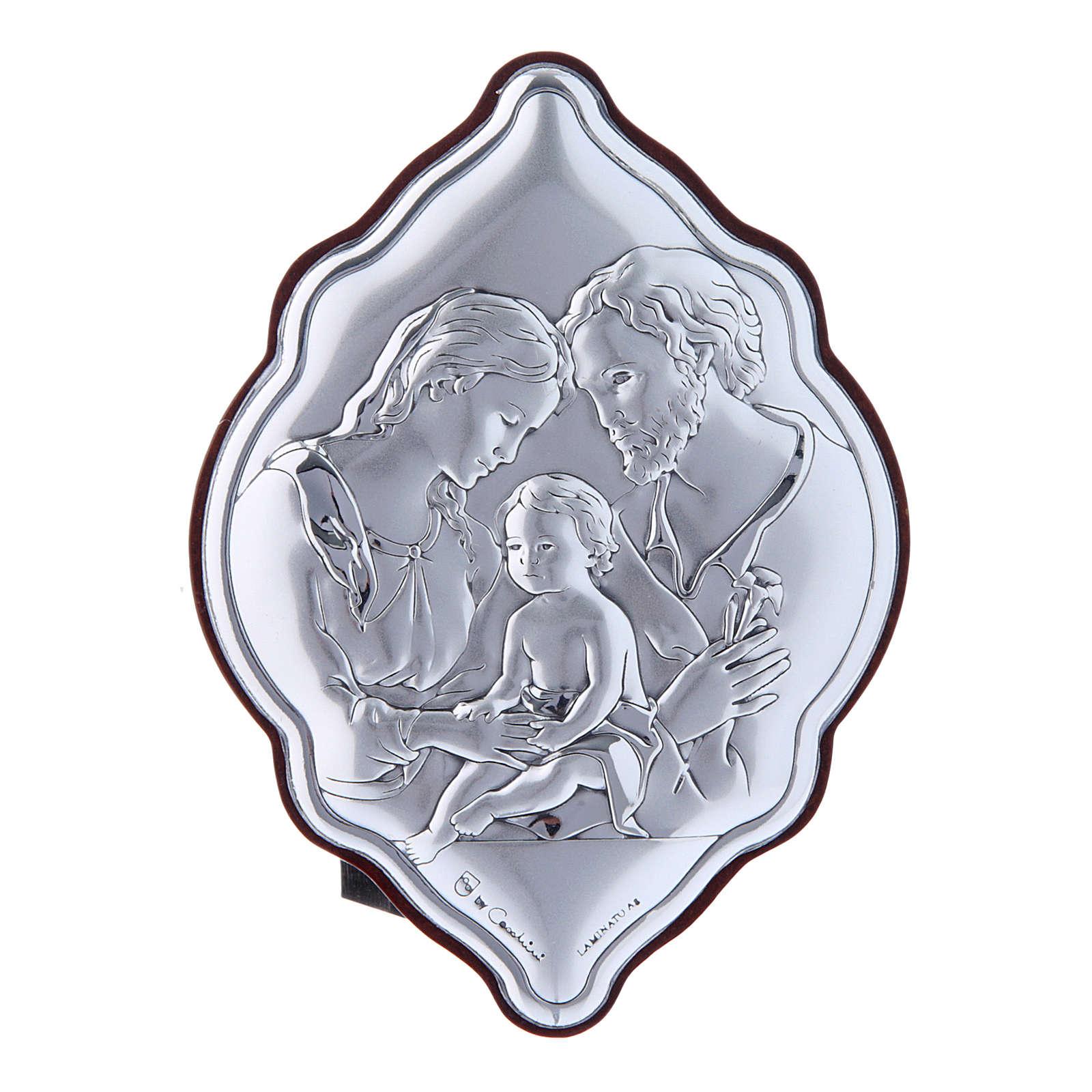 Quadro in bilaminato con retro in legno pregiato Sacra Famiglia 10X7 cm 4