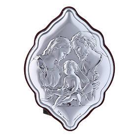 Quadro in bilaminato con retro in legno pregiato Sacra Famiglia 10X7 cm s1