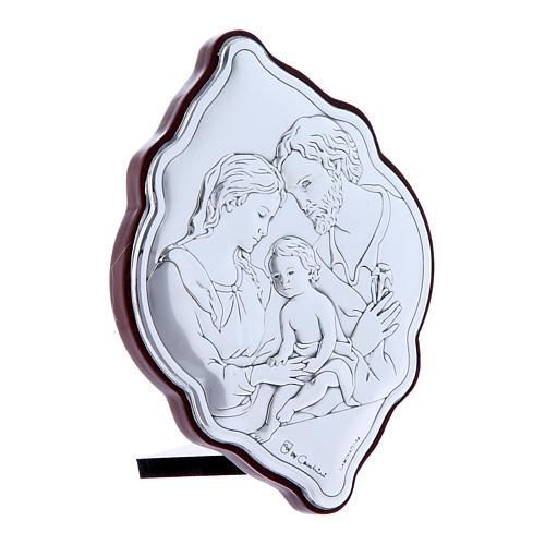 Quadro in bilaminato con retro in legno pregiato Sacra Famiglia 10X7 cm 2