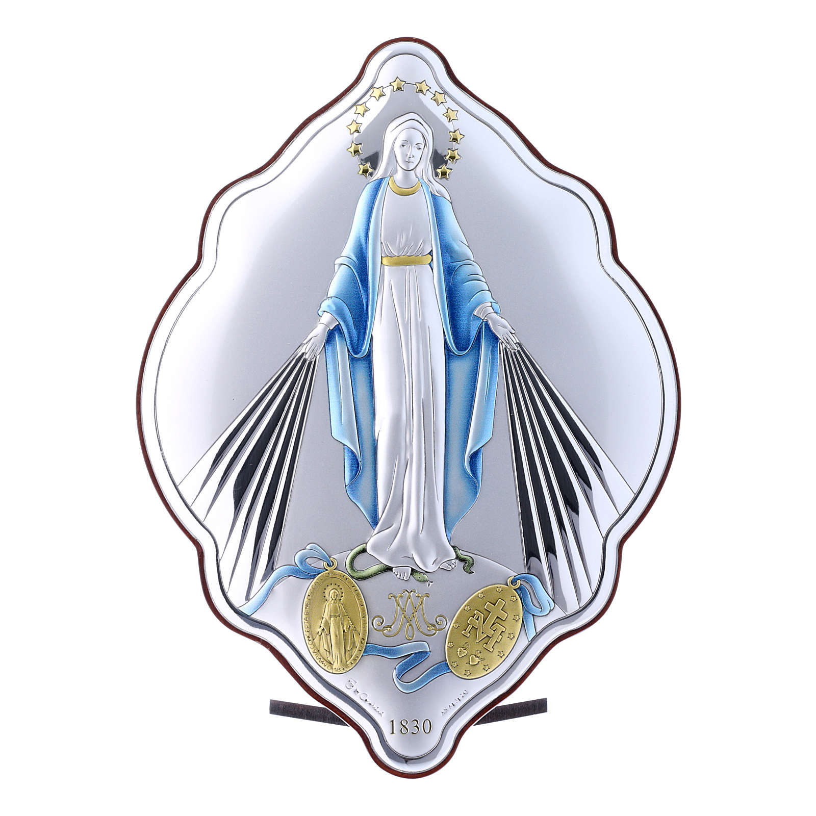 Immaculate Mary oval embroidered painting with refined wooden back 21X14 cm 4