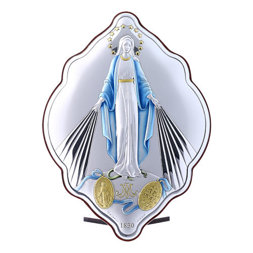 Immaculate Mary oval embroidered painting with refined wooden back 21X14 cm 1