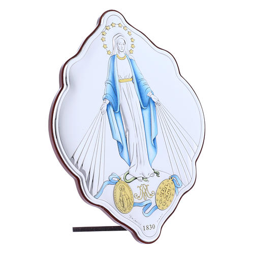 Immaculate Mary oval embroidered painting with refined wooden back 21X14 cm 2