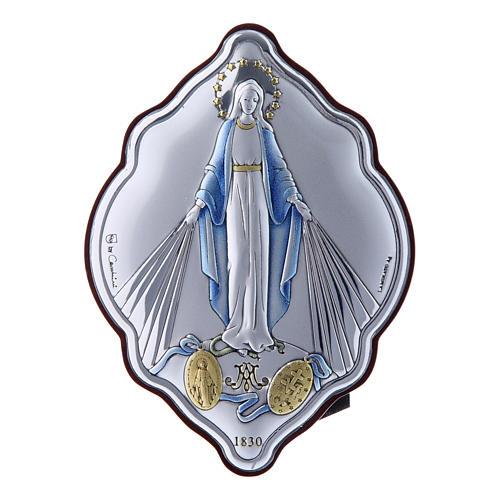 Cadre en bi-laminé avec support amande en bois massif Vierge Immaculée 10x7 cm 1