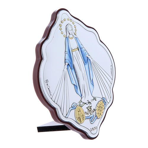 Cadre en bi-laminé avec support amande en bois massif Vierge Immaculée 10x7 cm 2