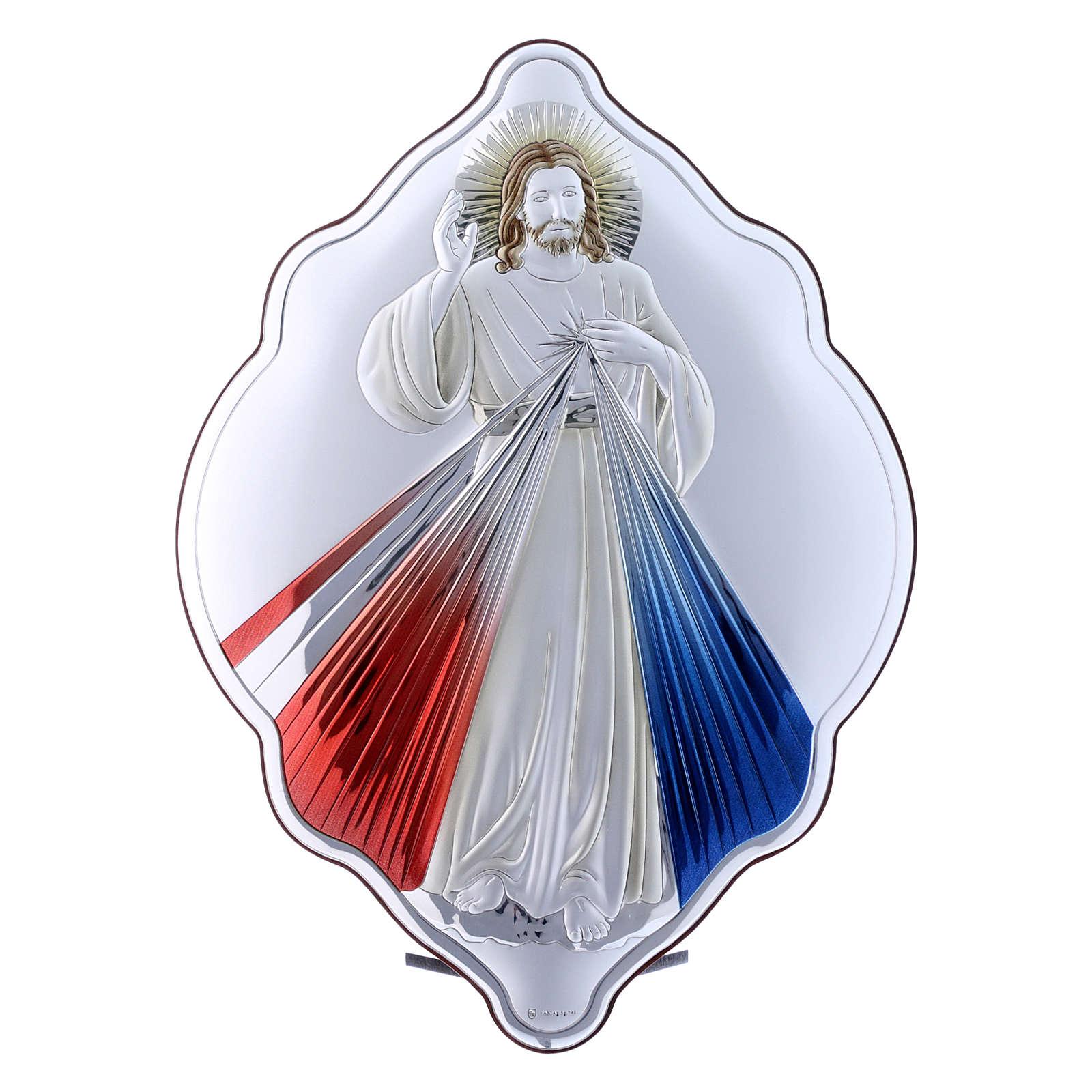 Quadro Gesù Misericordioso in bilaminato con retro in legno pregiato 31X21 cm 4