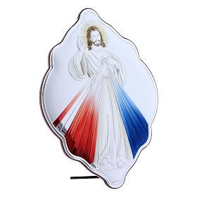 Quadro Gesù Misericordioso in bilaminato con retro in legno pregiato 31X21 cm s2