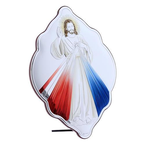 Quadro Gesù Misericordioso in bilaminato con retro in legno pregiato 31X21 cm 2