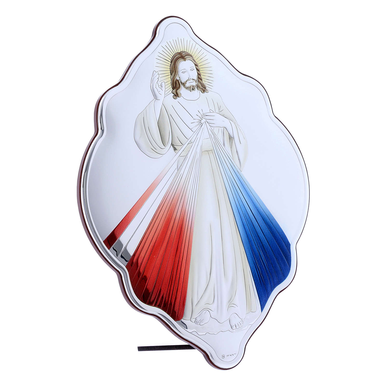 Jesus the Compassionate painting in laminboard with refined wooden back 31X21 cm 4