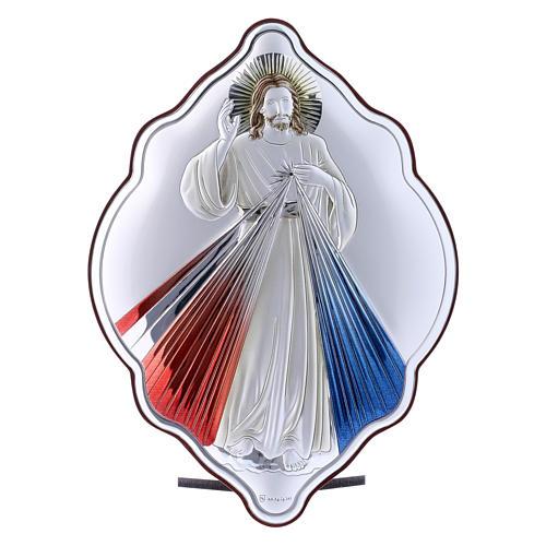 Quadro in bilaminato con retro in legno pregiato Gesù Misericordioso 21X14 cm 1