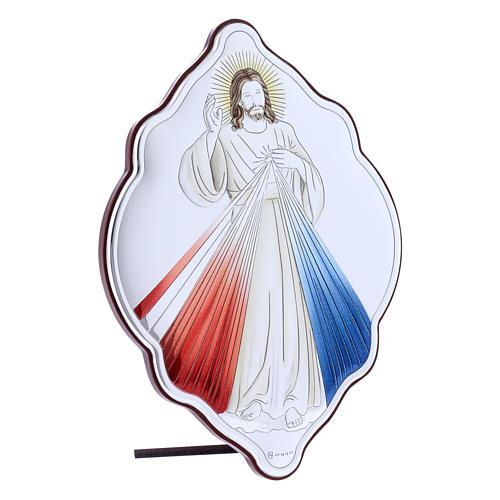 Quadro in bilaminato con retro in legno pregiato Gesù Misericordioso 21X14 cm 2
