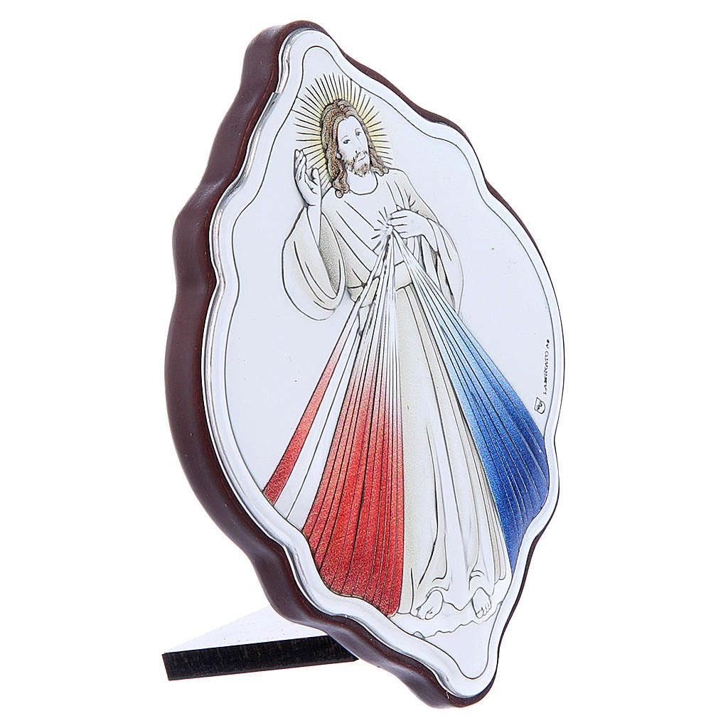 Quadro Gesù Misericordioso in bilaminato con retro in legno pregiato 10X7 cm 4