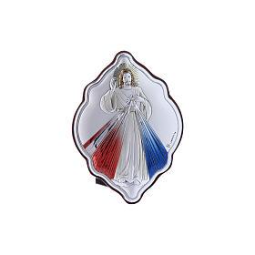 Quadro Gesù Misericordioso in bilaminato con retro in legno pregiato 10X7 cm s4
