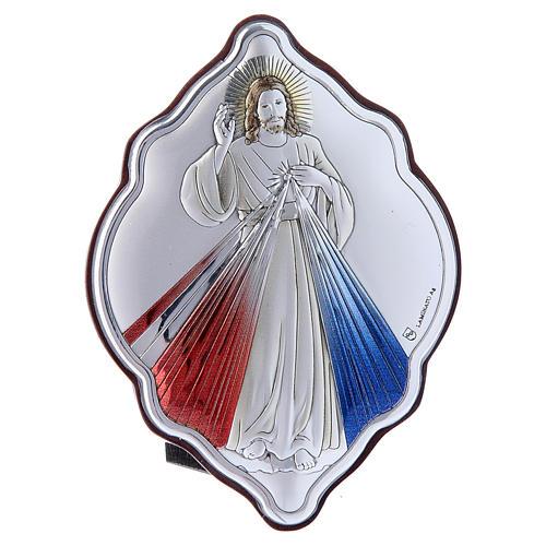 Quadro Gesù Misericordioso in bilaminato con retro in legno pregiato 10X7 cm 1