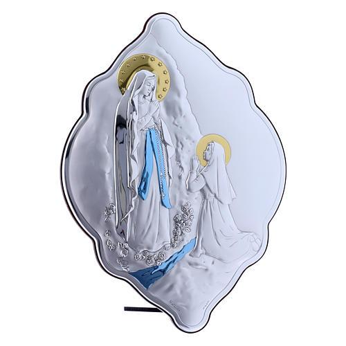 Cuadro de bilaminado con parte posterior de madera preciosa Virgen de Lourdes 31x21 cm 2