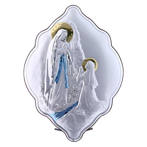 Quadro in bilaminato con retro in legno pregiato Madonna di Lourdes 31X21 cm 1