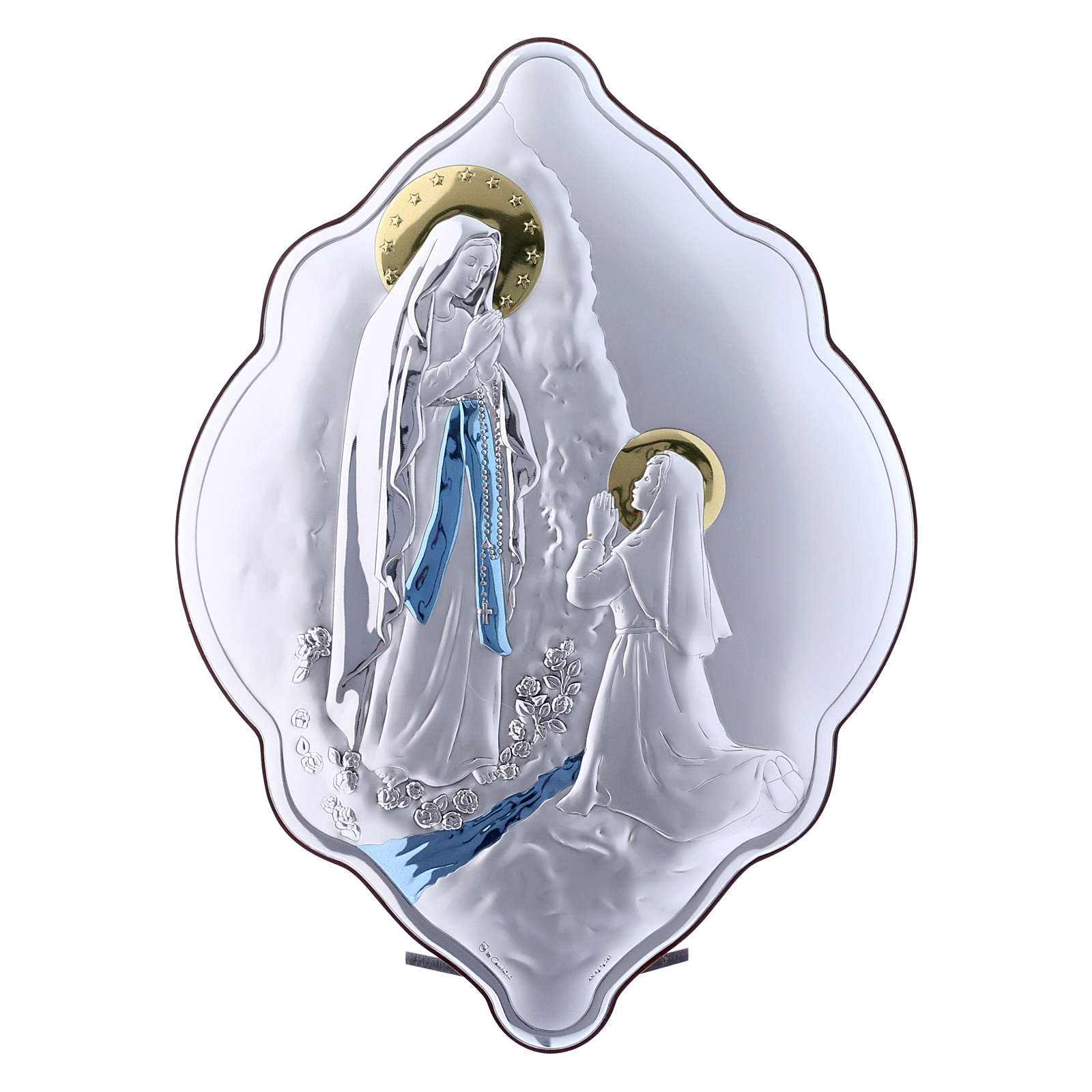Our Lady of Lourdes painting in laminboard with refined wooden back 31X21 cm 4