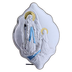 Our Lady of Lourdes painting in laminboard with refined wooden back 31X21 cm s2