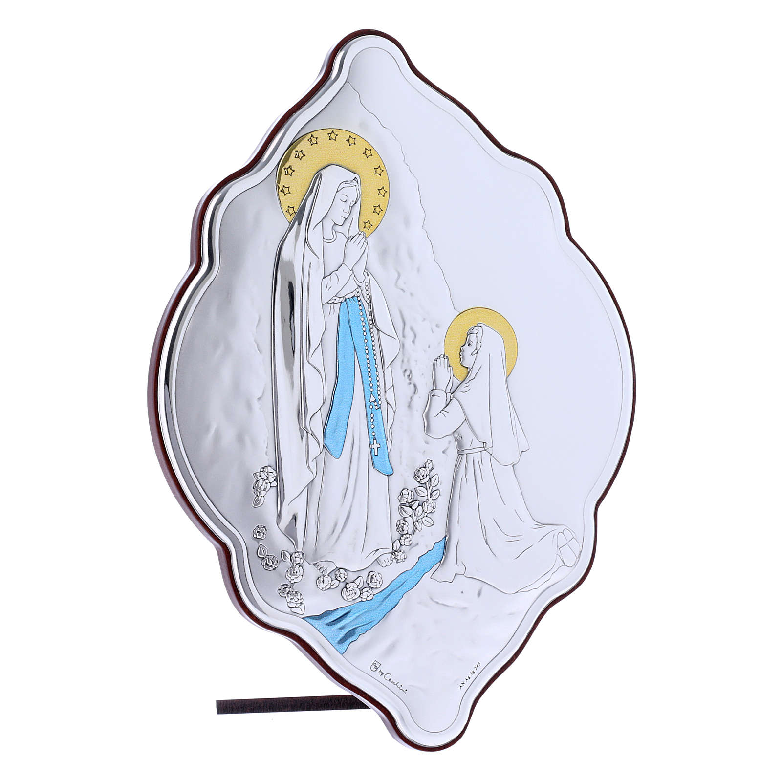 Quadro Madonna di Lourdes in bilaminato con retro in legno pregiato 21X14 cm 4
