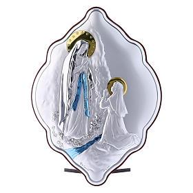Quadro Madonna di Lourdes in bilaminato con retro in legno pregiato 21X14 cm s1