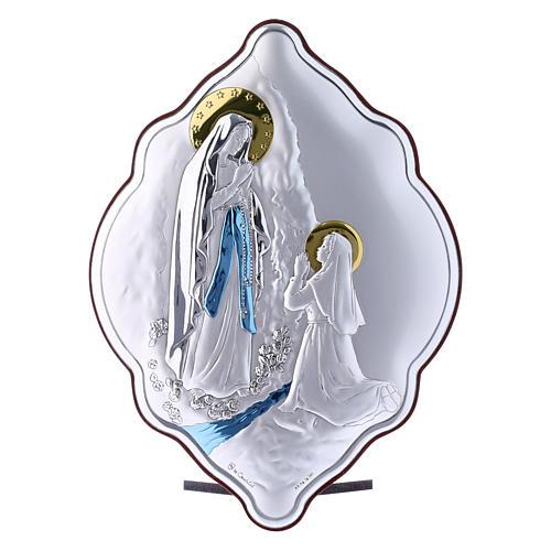 Quadro Madonna di Lourdes in bilaminato con retro in legno pregiato 21X14 cm 1