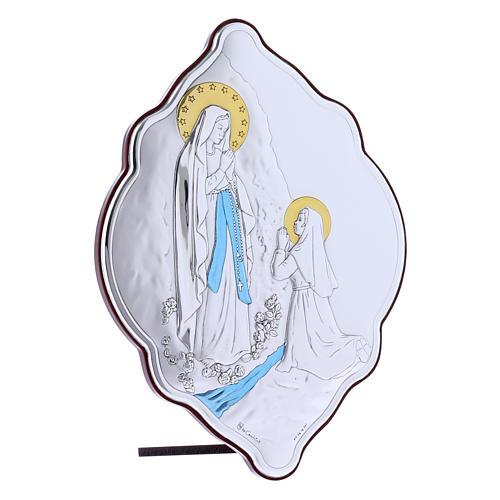Quadro Madonna di Lourdes in bilaminato con retro in legno pregiato 21X14 cm 2