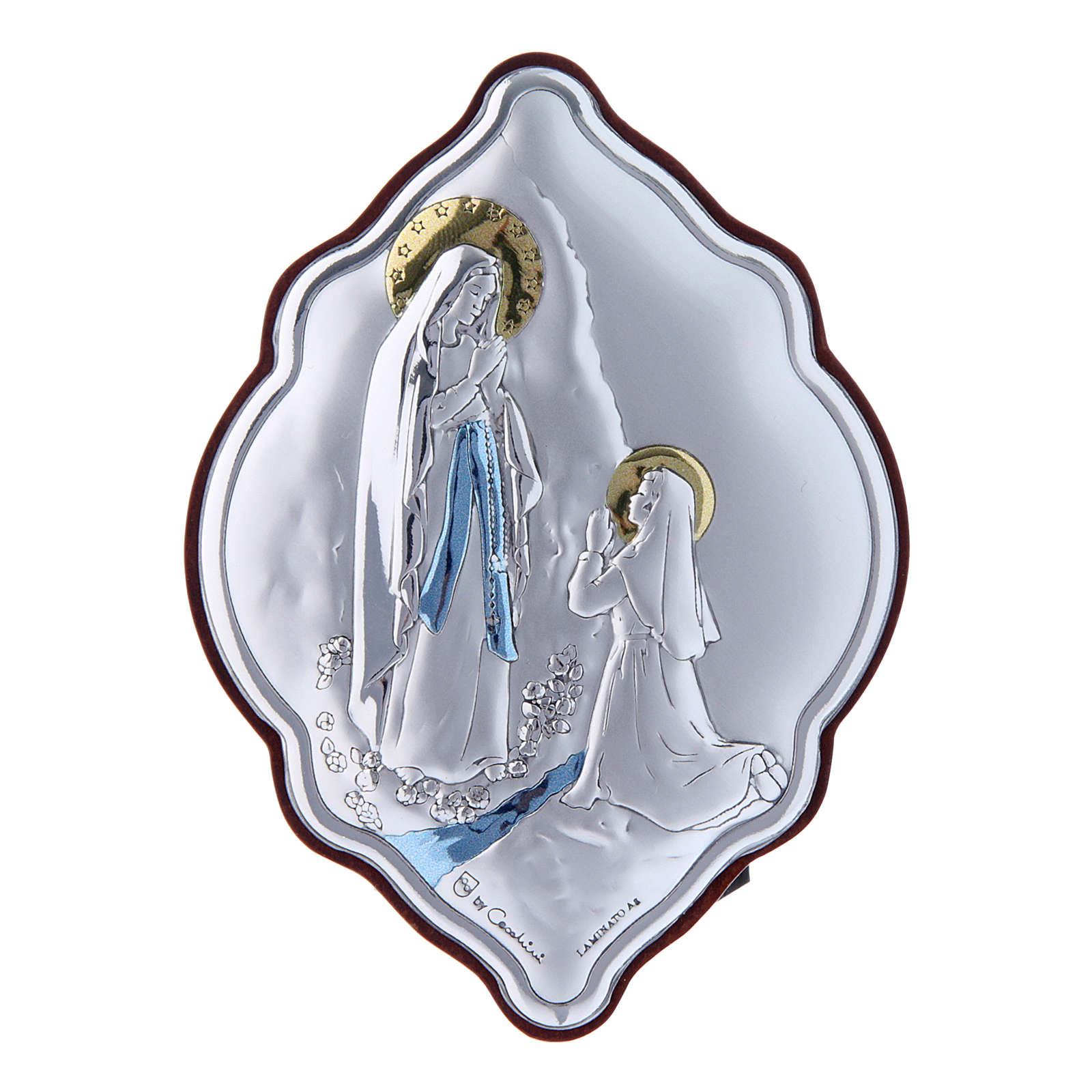 Our Lady of Lourdes painting in laminboard with refined wooden back 10X7 cm 4