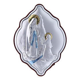 Our Lady of Lourdes painting in laminboard with refined wooden back 10X7 cm s1