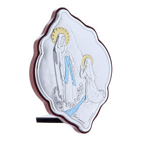 Our Lady of Lourdes painting in laminboard with refined wooden back 10X7 cm s2