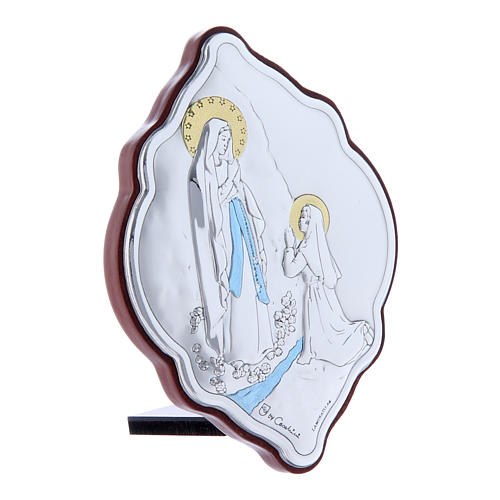 Our Lady of Lourdes painting in laminboard with refined wooden back 10X7 cm 2
