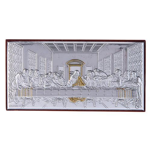 Quadro bilaminato retro legno pregiato Ultima Cena 4,7X9,4 cm 1