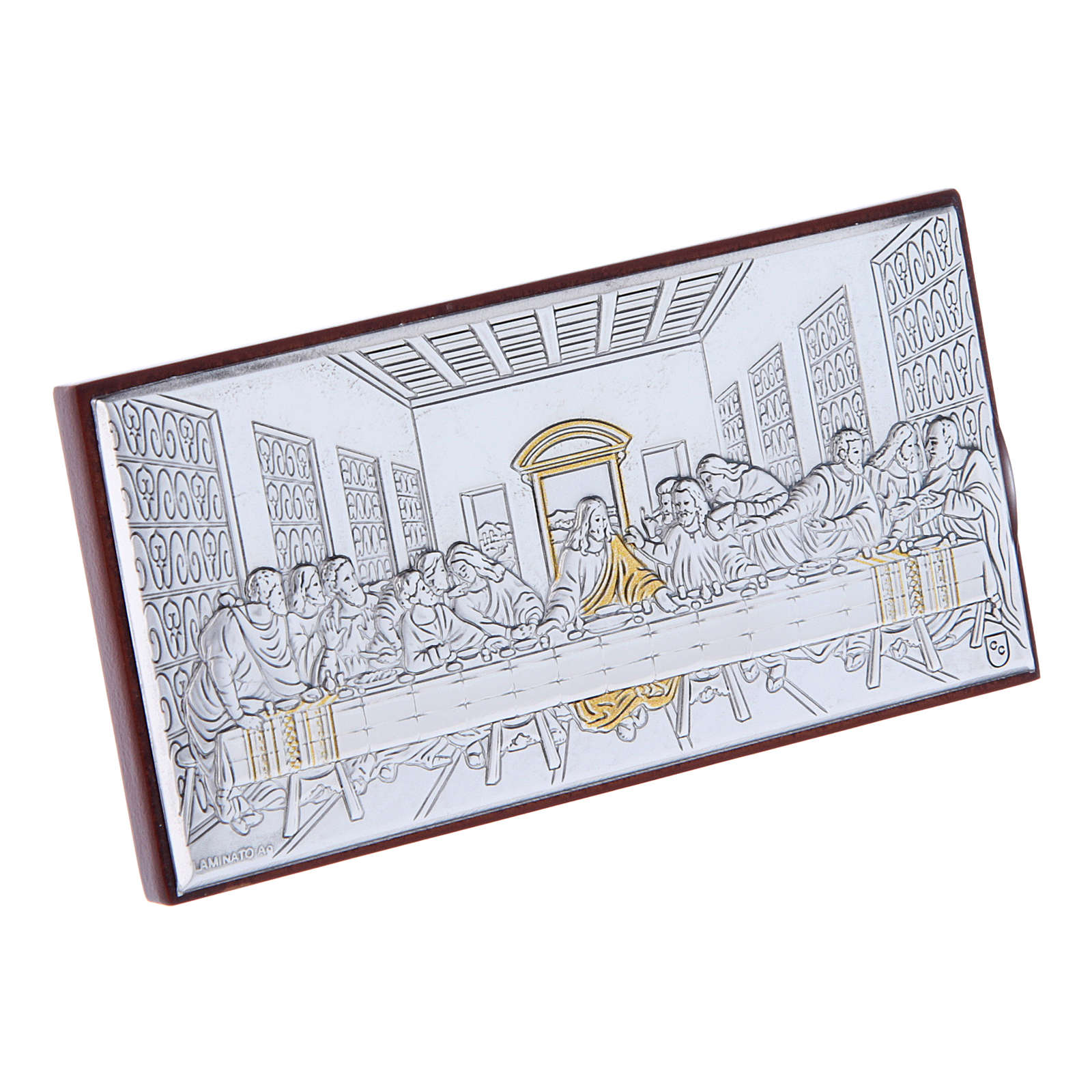 The Last Supper painting in laminboard with refined wooden back 4,7X9,4 cm 4