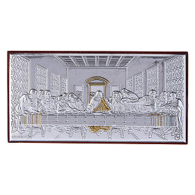 The Last Supper painting in laminboard with refined wooden back 4,7X9,4 cm s1