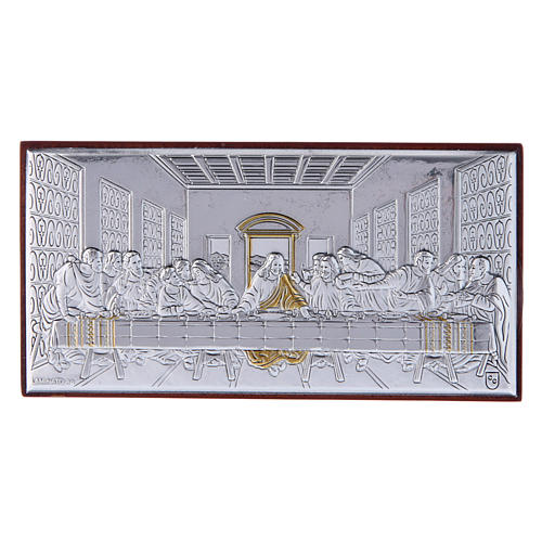 The Last Supper painting in laminboard with refined wooden back 4,7X9,4 cm 1