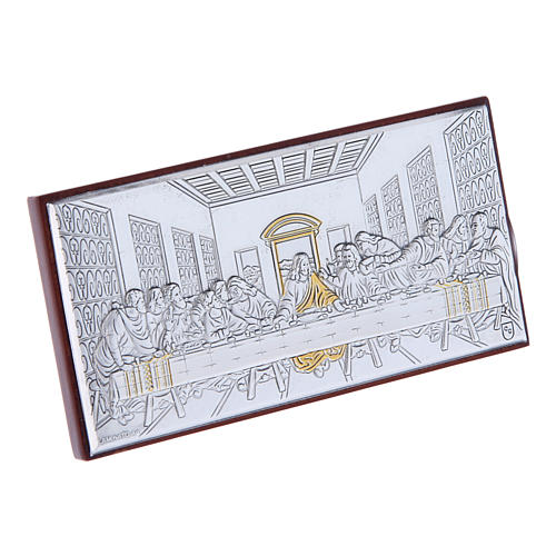 The Last Supper painting in laminboard with refined wooden back 4,7X9,4 cm 2