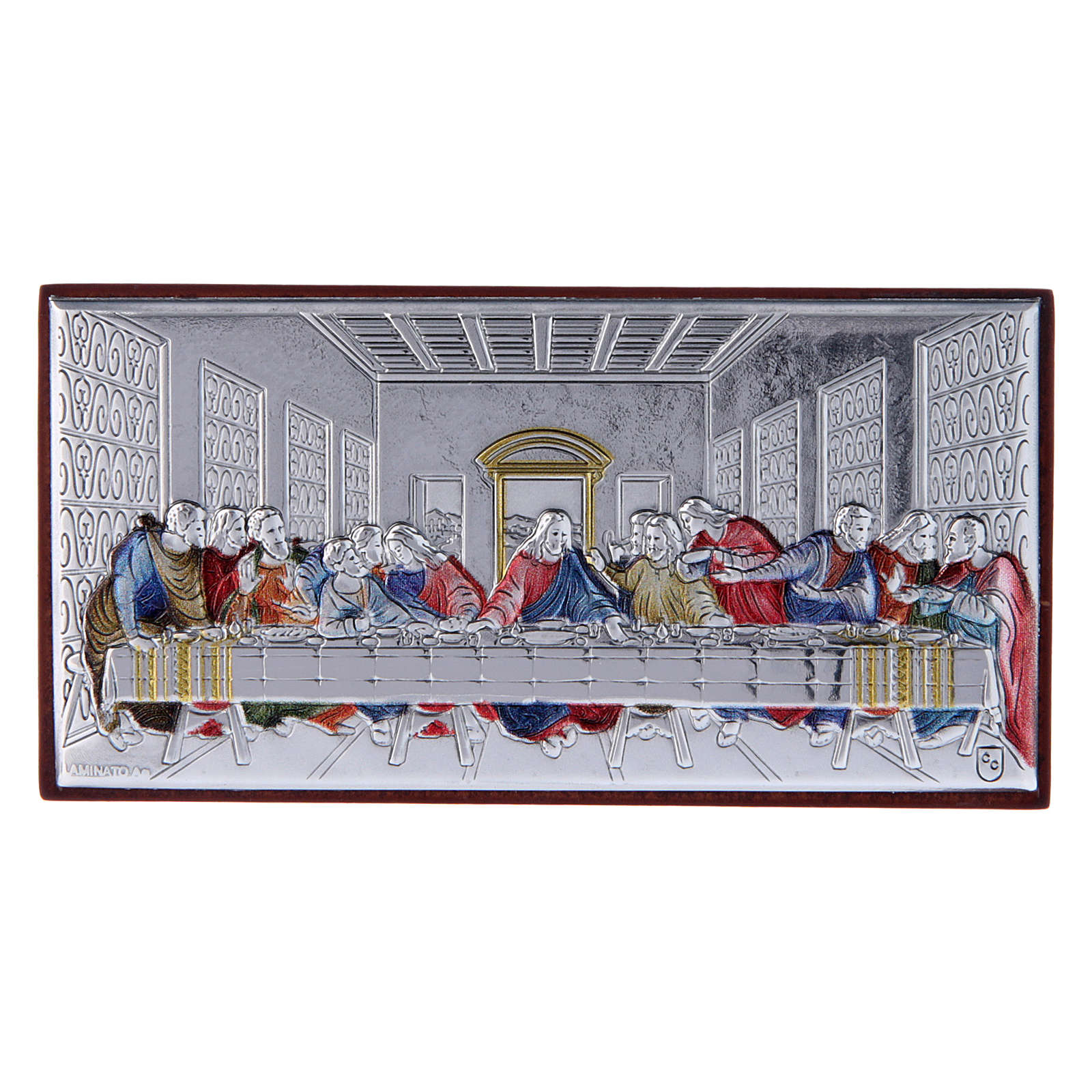 The Last Supper painting in colored laminboard with refined wooden back 4,7X9,4 cm 4