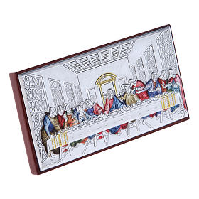 The Last Supper painting in colored laminboard with refined wooden back 4,7X9,4 cm s2