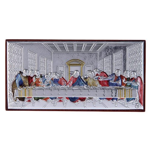 The Last Supper painting in colored laminboard with refined wooden back 4,7X9,4 cm 1