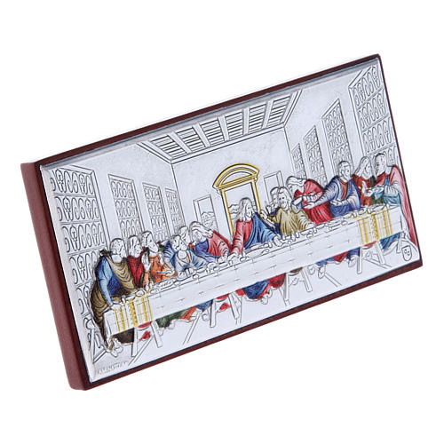 The Last Supper painting in colored laminboard with refined wooden back 4,7X9,4 cm 2