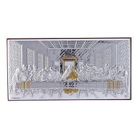 Quadro bilaminato retro legno pregiato Ultima Cena 7,5X15 cm s1